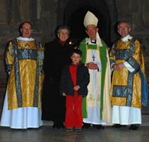 Pwyll with Mam-gu, Tad-cu, Dean a Chaplain of St Davids Cathedral